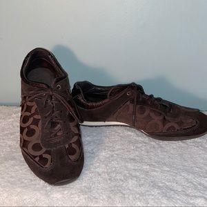 Coach Kelbie Brown Logo Sneakers Size 10M